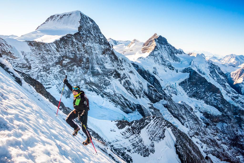 Ueli Steck climbing the Eiger