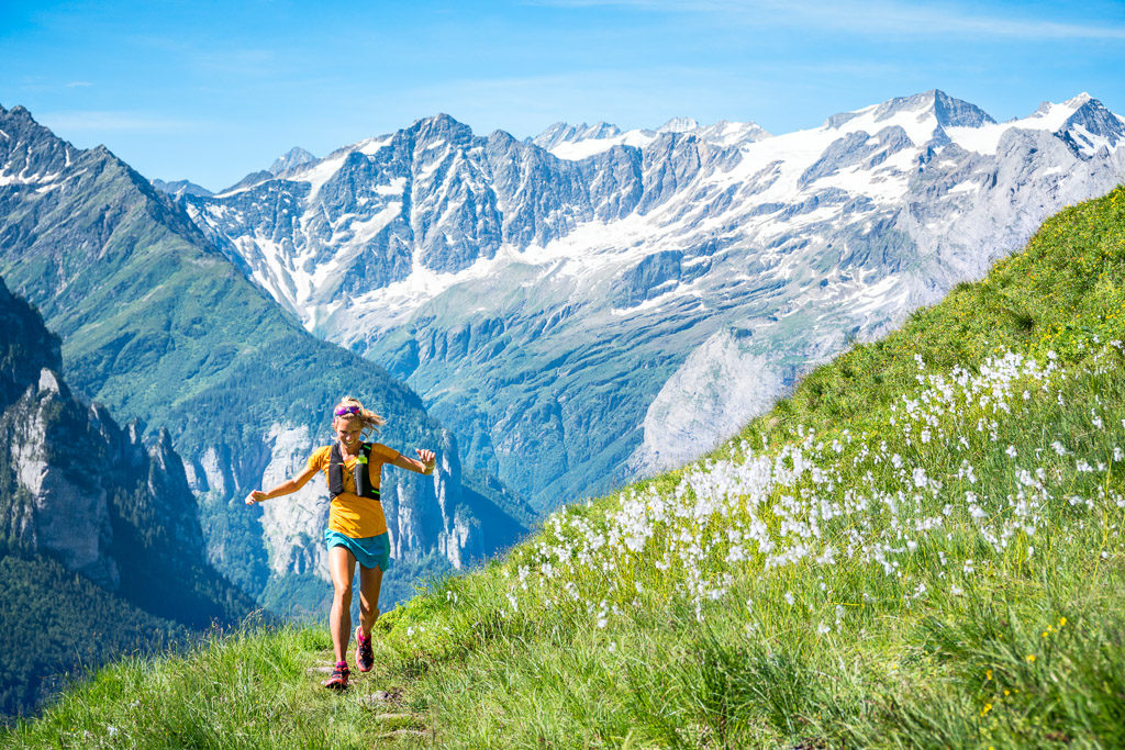 Summer trail running in the Swiss Alps from Engstlenalp, near the Susten Pass. Switzerland