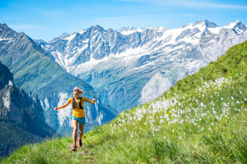 Summer trail running in the Swiss Alps from Engstlenalp, near the Susten Pass. Switzerland