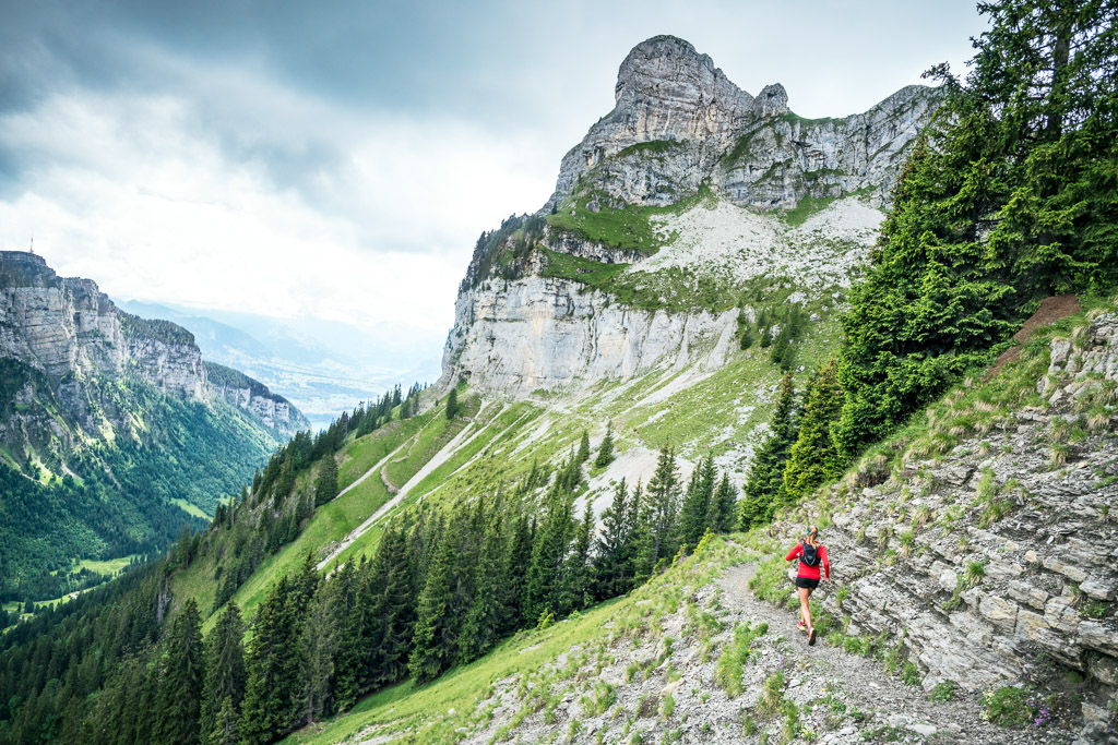 Trail running in the Jusistal, a classic Swiss Alps landscape, above Interlaken, Switzerland