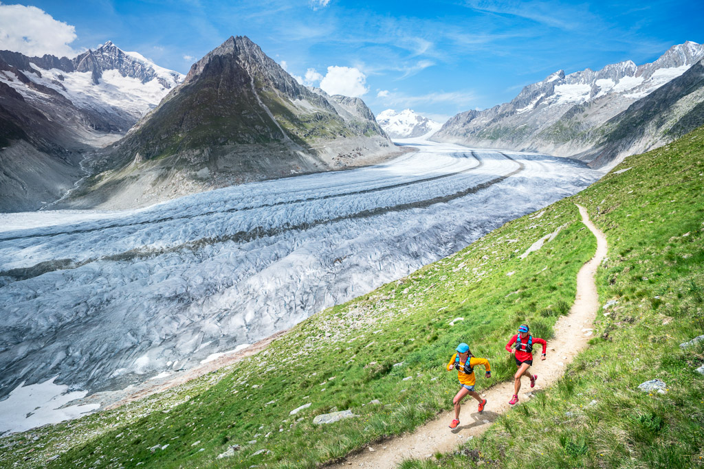 Trail running along the Aletschgletscher, the Alps largest glacier and UNESCO site, while doing the loop trail from Bettmeralp, Switzerland