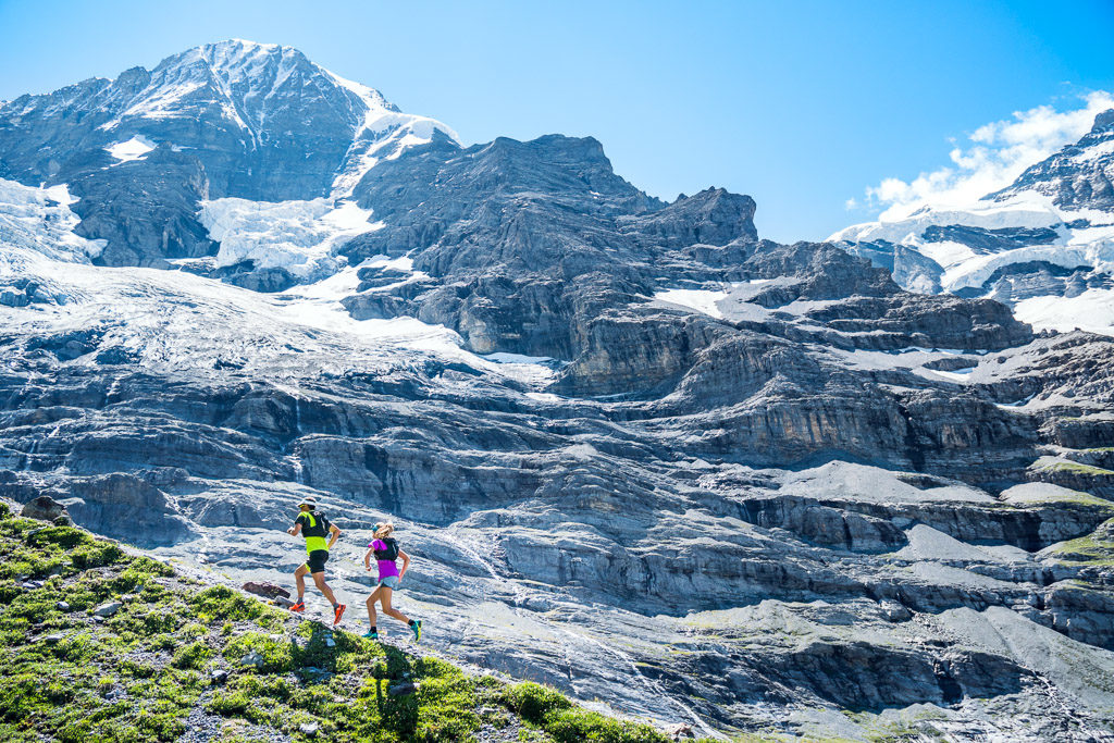Trail running in the Jungfrau Region of Switzerland with the Mönch above