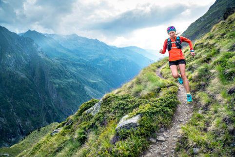 Trail running near Lac Louvie in the Valais region of Switzerland