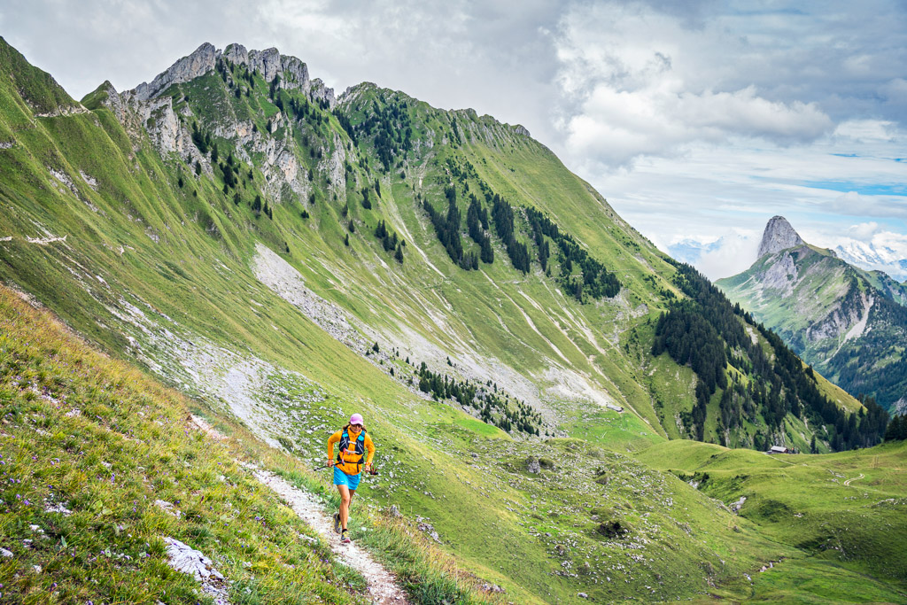 Trail running in the pre-Alps region near the Stockhorn and Gantrisch, Switzerland
