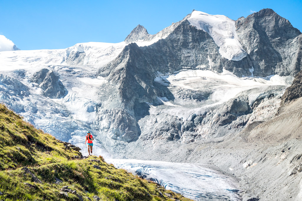 Trail running in the Swiss Alps near Lac de Moiry