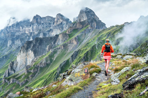 Trail running in changing weather while in the Dent du Morcles area of Switzerland.