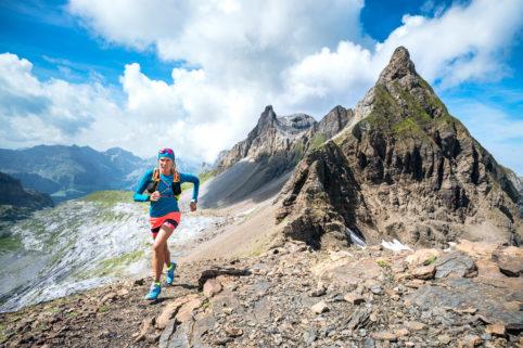Trail running in the Bannalp, central Switzerland