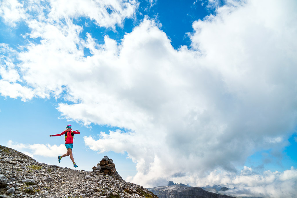 Trail running on the Gemsfairenstock, above Klausen Pass, Switzerland
