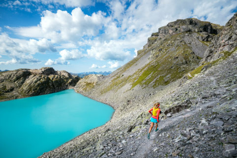 Trail running at the Pizol, Swiss Alps