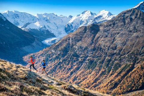 Trail running above Pontresina, Switzerland