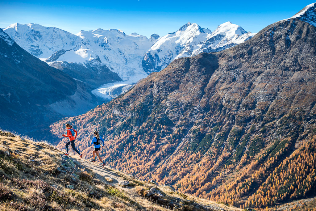 Trail running above Pontresina, Switzerland