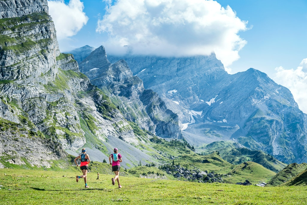 Trail running the Tour de l'Argentine loop from Solalex, Switzerland