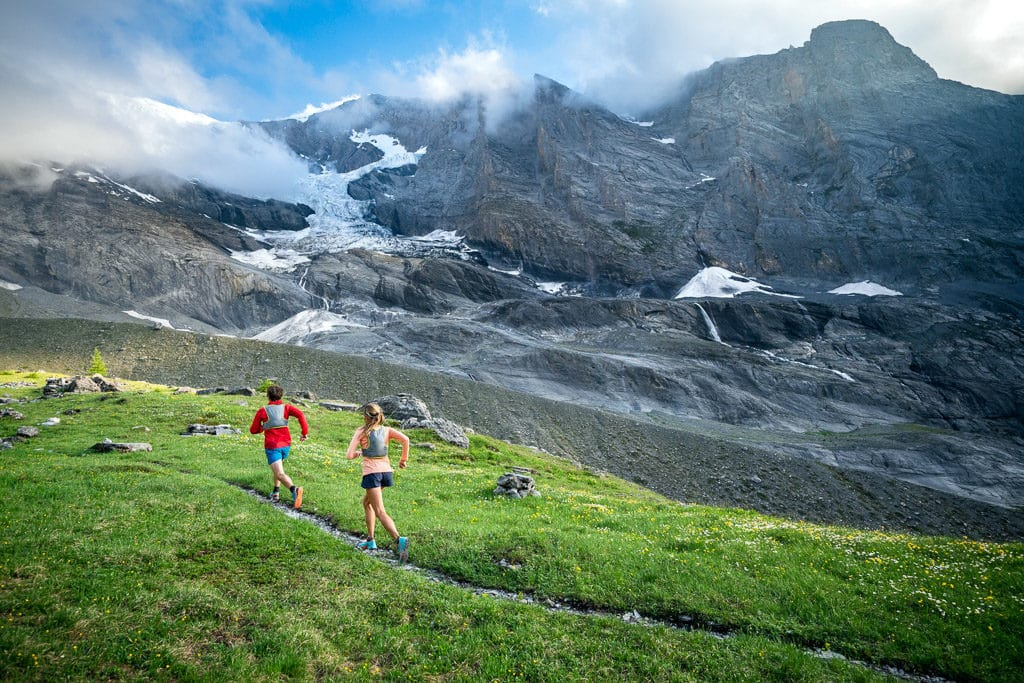 Trail running on the Gasterespitze, a small peak on the Balmhorn, above Kandersteg, Switzerland