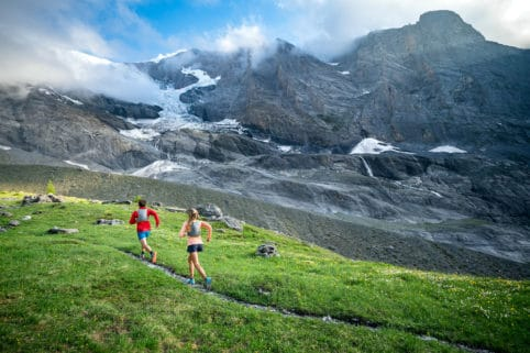Trail running on the Gasterespitze, a small peak on the Balmhorn, above Kandersteg, Switzerland
