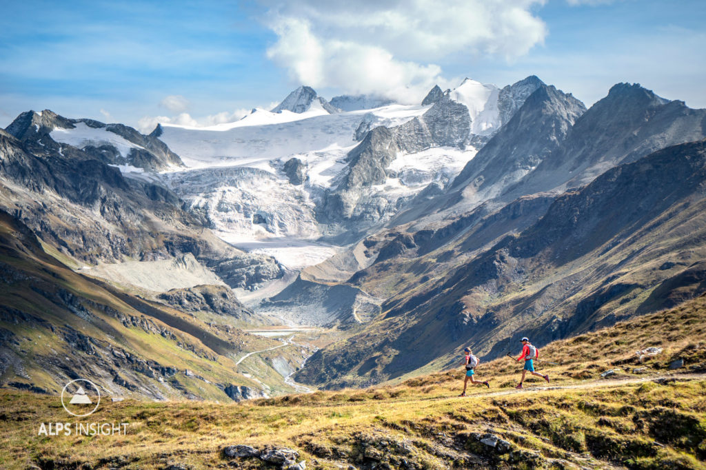 Trail running on the Via Valais, a multi-day trail running tour connecting Verbier with Zermatt, Switzerland.