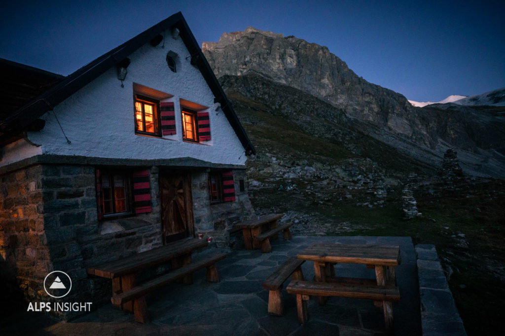 The Turtmann Hut at night, Switzerland