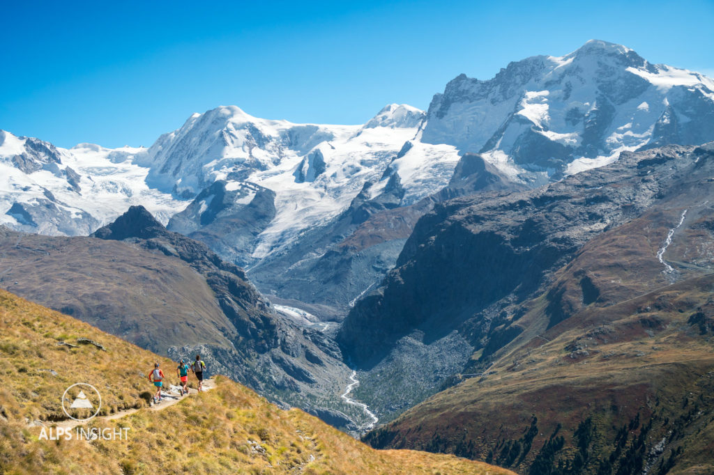 Trail running above Zermatt, with views of the Breithorn, on the last day of the Via Valais, a multi-day trail running tour connecting Verbier with Zermatt, Switzerland.