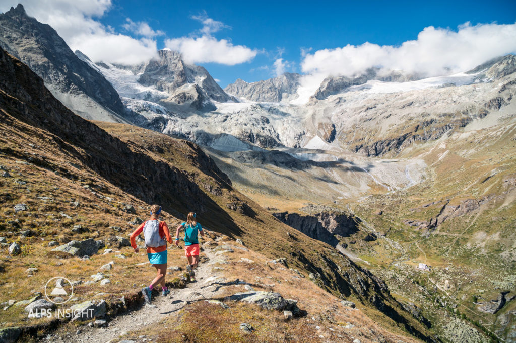 Trail running above Zermatt on the last day of the Via Valais, a multi-day trail running tour connecting Verbier with Zermatt, Switzerland.